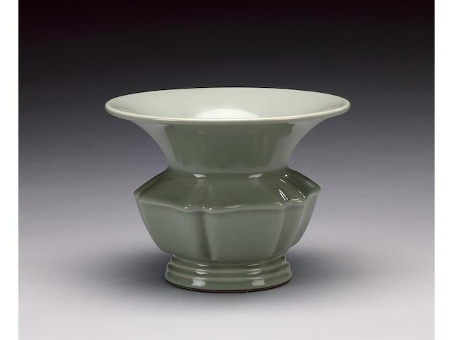 A very rare celadon-glazed leys jar, zhadou Qianlong seal mark