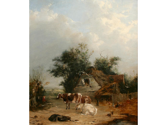 John James Wilson Cows and hens in a farmyard, 52 x 43cm.