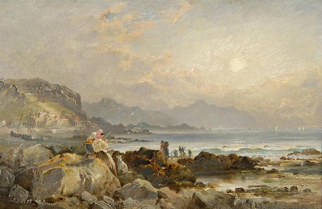 John Brett, A.R.A. (1831-1902) Figures on the rocks 16.5 x 26cm (6½ x 10¼in).