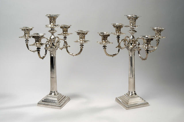 A pair of Victorian four-branch five-light candelabra,  Sheffield 1898,