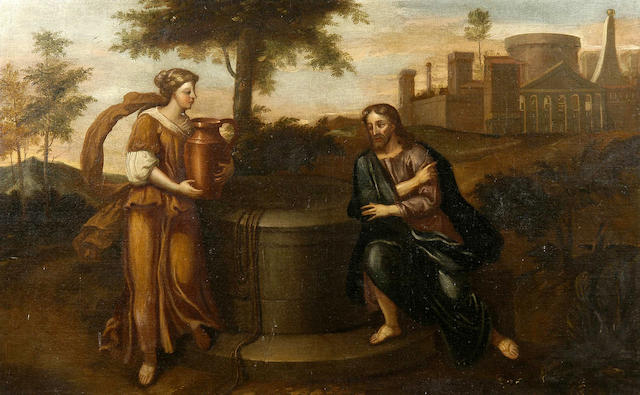 Flemish School (18th Century) Christ and the woman of Samaria 102 x 162.5cm (40 x 64in).