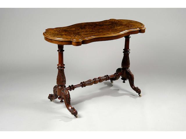 A Victorian burr walnut stretcher table,