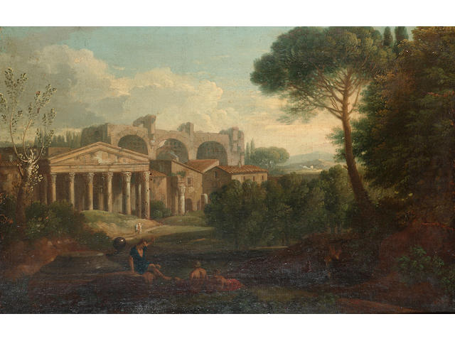 Circle of Orizzonte An Arcadian landscape with figures resting beside a stream in the foreground and