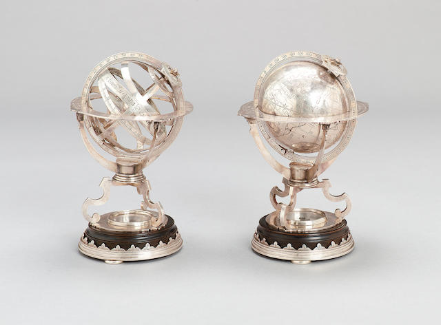 A fine silver armillary sphere and matched silver terrestrial globe, English, in late 17th century style, (2)