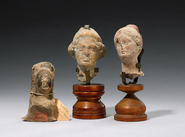 Two Hellenistic terracotta heads and a bust (003, 009, 020) (3)