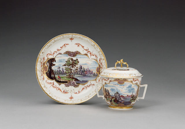 Meissen porcelain bowl, cover and stand