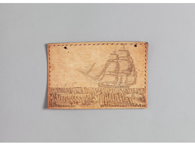 A fine scrimshawed panbone, mid 19th century, 6.75x10.25in(17x26cm)