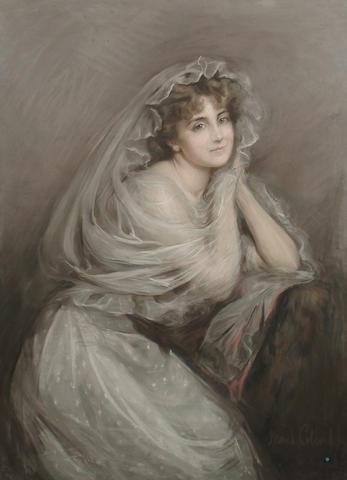 Maud Coleridge (British, exh.1893-1903) Portrait of a lady in white, seated, 115 x 84 cm (45 1/4 x 33 in)