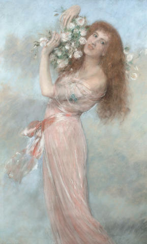 Pierre Carrier-Belleuse (French, 1851-1932) Portrait of an auburn haired woman holding flowers, 141