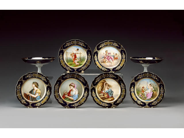 A Vienna style part dessert service, late 19th century, signed F Opitz,