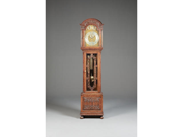 A good turn of the century carved oak quarter chiming longcase clock John Smith & Sons, Clerkenwell