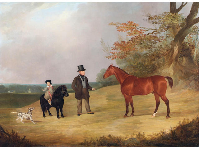 English School (early 19th Century), Portrait of Robert Steere Harrison with his bay hunter in the grounds of Benningholme Hall, his son John Steere Harrison on a black Shetland pony playing with a spotted hound, 75 x 102.5cm.