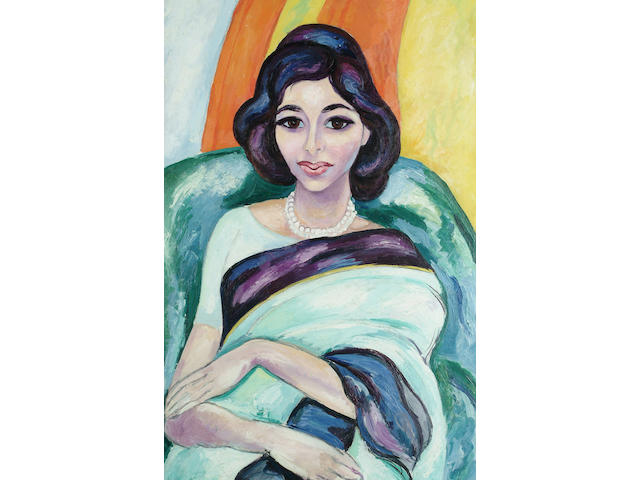 Edward Wolfe (British, 1897-1981) Lady in a Sari 76 x 50cm (30 x 19 3/4in)