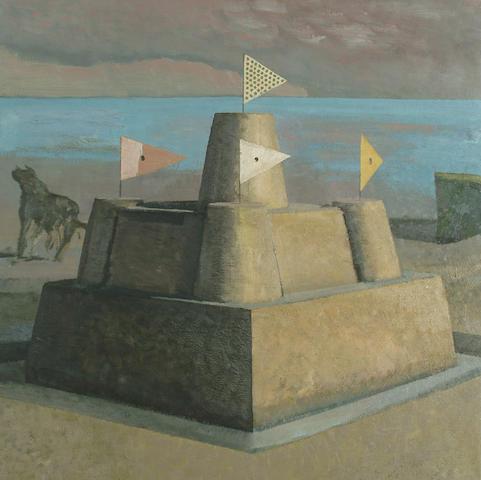 David Inshaw (British, b.1943) Sandcastle and dog 58 x 58cm (23 x 23in)