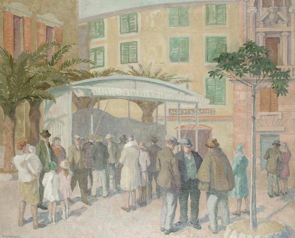 Violet Baber Mimpriss (Britsh, fl.1914-1930) Figures in a street 51 x 61cm (20 x 24in)