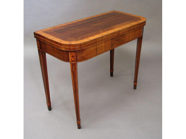 A late 18th Century kingwood and line inlaid card table