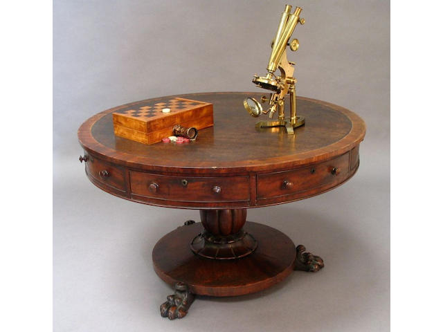 A William IV mahogany drum library table