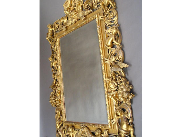 A good and large 19th Century Italian giltwood frame wall mirror