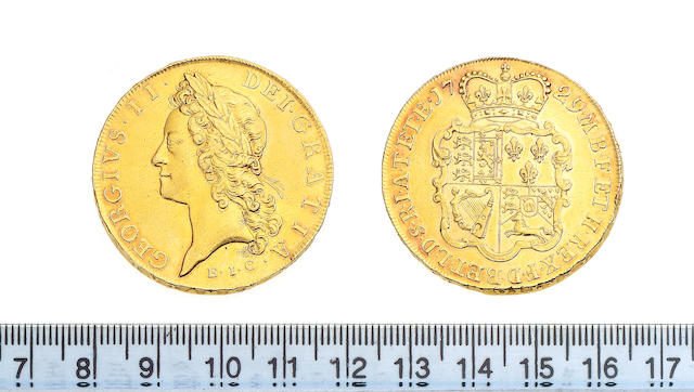 George II, Five Guineas, 1729, E.I.C, young laureate head left.
