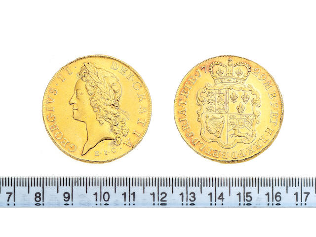 George II (1727-60), Five Guineas, 1729, E.I.C, young laureate head left.