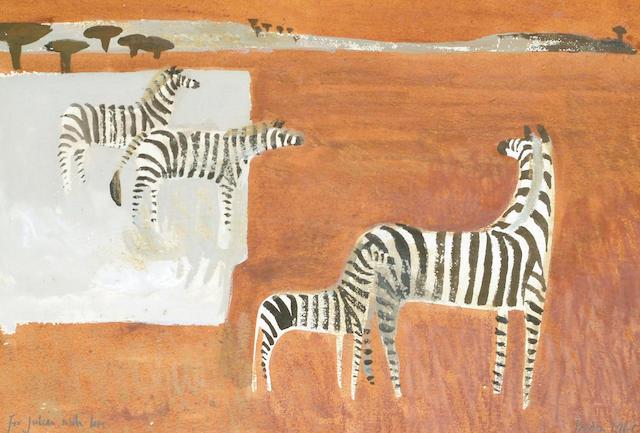 Mary Fedden (British, b.1915) Zebras 23.5 x 34.5cm (9 1/4 x 13 1/2in)