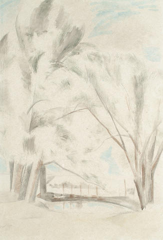 Paul Nash (British, 1889-1946) Trees in landscape 56 x 38cm (22 x 15in)