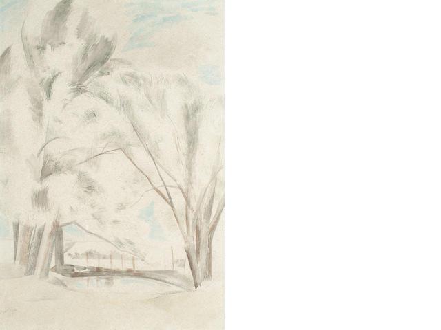 Paul Nash (British, 1889-1946) Trees in landscape 56 x 38cm (22 x 15in)