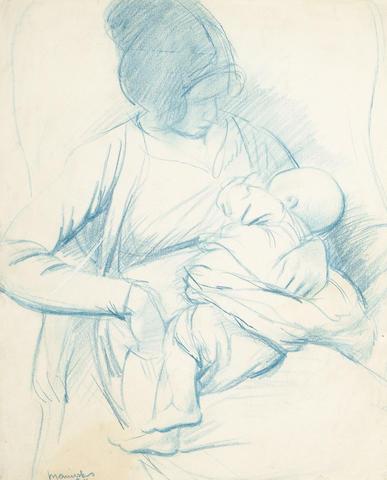 Bernard Meninsky (British, 1891-1950) Mother and Child 33 x 27cm (13 x 10 1/2in)