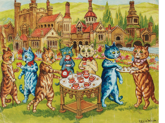 Louis Wain (British, 1860-1939) A tea party on the lawn 22 x 28.5 cm. (8 3/4 x 11 1/4 in.)