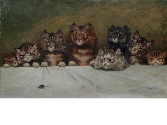 Louis Wain (British, 1860-1939) All eyes on the beetle 35.5 x 60 cm. (14 x 23 1/2 in.)