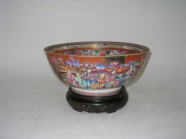 A Chinese 'Mandarin Palette' punch bowl