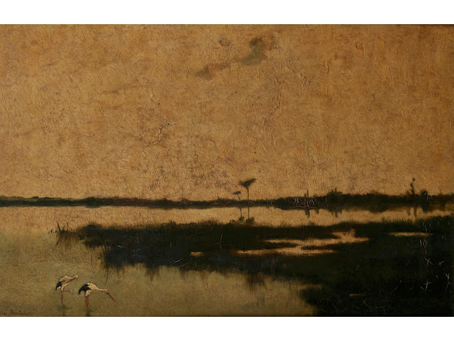 Hilda Montalba Extensive lake landscape with storks, 30 x 46cm.