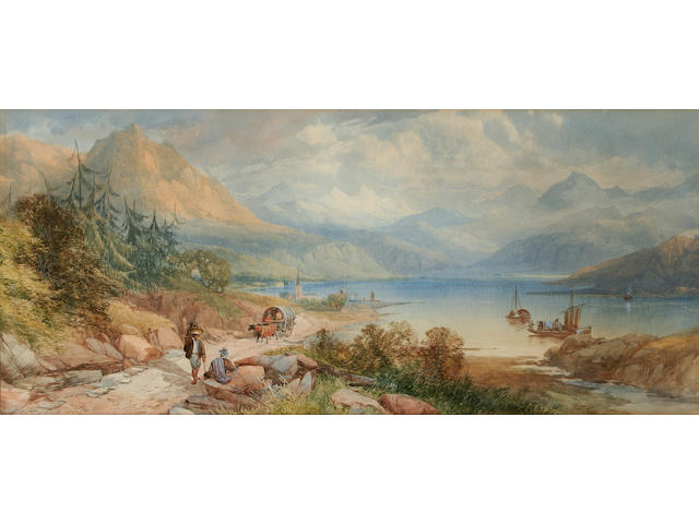 James Burrell Smith Italian lake landscape, 24 x 54cm.