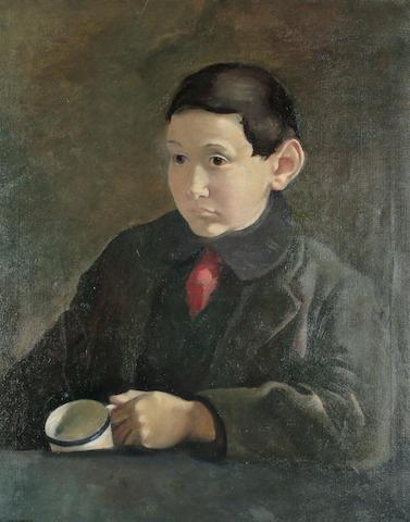 Clara Klinghoffer (British, 1900-1972) 'East End Boy with Cup' 30 x 24in (76 x 61cm)