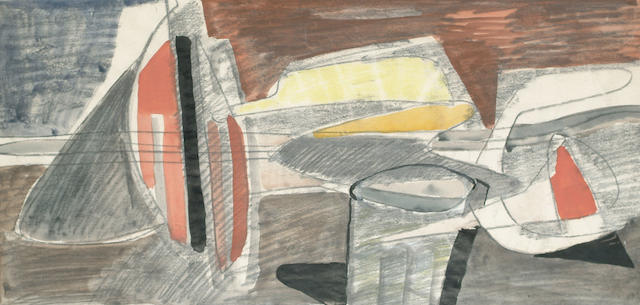 Jankel Adler (Polish, 1895-1949) Abstract Composition 29 x 55cm (11 1/2 x 21 1/2in)