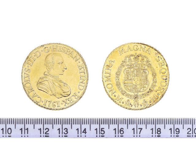 Mexico, 8 Escudos, 1761, Carlos III, Mexico-MM, NOMINA MAGNA SEQUOR M-M (Cay.11942, type 57).