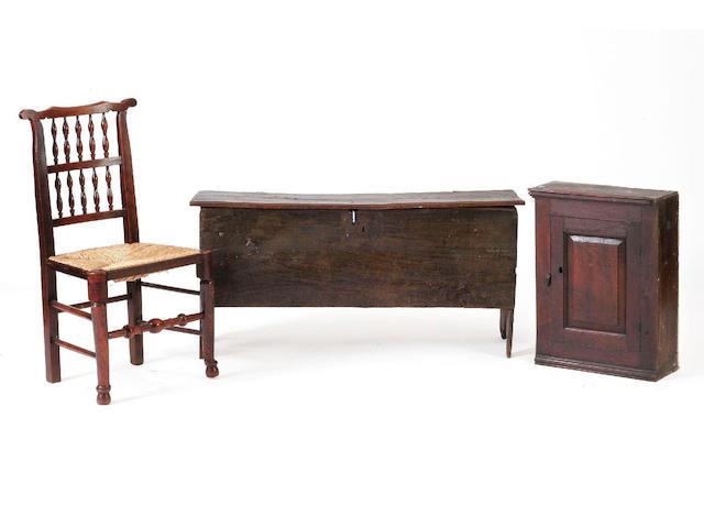 A late 18th Century oak six plank coffer,