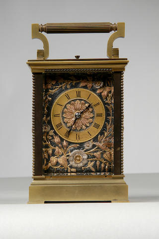 A good 19th Century French lacquered brass repeater carriage clock,