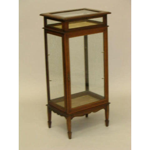 An Edwardian mahogany and satinwood strung glass cabinet,