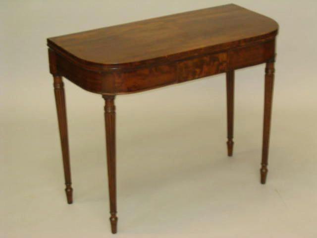 A Regency mahogany D-shaped card table,
