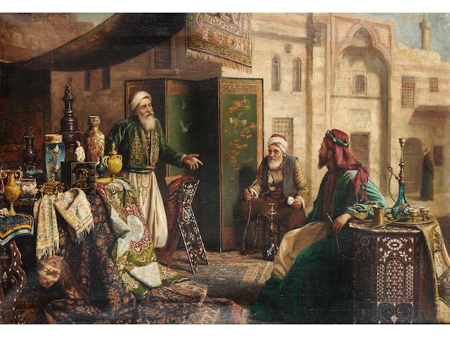 Carl Johann Spielter (German, 1851-1921) An Ottoman trader 50 x 70 in. (19 3/4 x 27 1/2 in.)