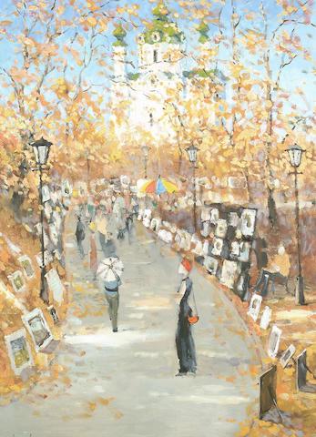 Anatoliy Demenko (Russian, 20th Century) Art show 96 x 71.5cm (37 3/4 x 28in)