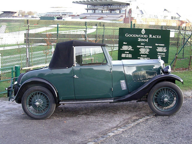 1933 Riley 9hp Ascot Drophead Coupe  Chassis no. 6021860 Engine no. 51000