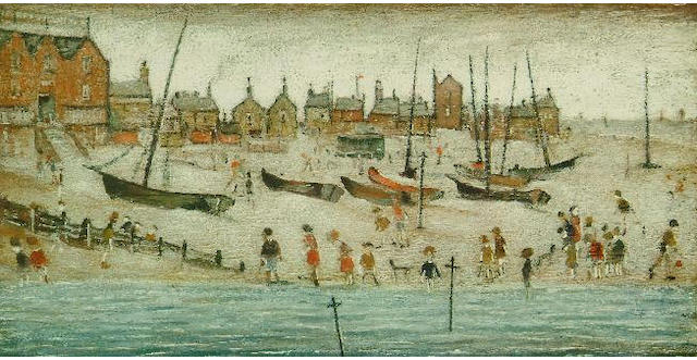 Laurence Stephen Lowry (1887-1976) 'The Beach' 26 x 50.5cm.