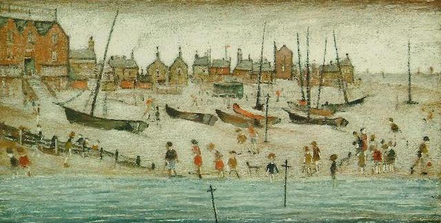 Laurence Stephen Lowry (1887-1976) 'The Beach' 26 x 50.5cm.