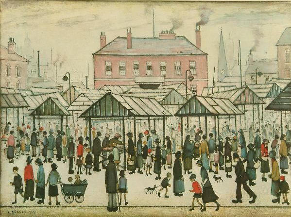 Laurence Stephen Lowry (1887-1976) 'Market Scene in a Northern Town' 45.5 x 61cm.