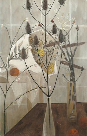 Helen Trevelyan (British, 20th Century) Still life with thistles 90 x 60cm (35 1/2 x 23 3/4in)