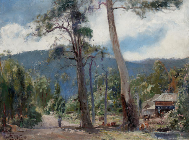 Walter Hebert Withers (Australian, 1854-1914) Morning sun through gums, Eltham, Victoria 45.7 x 61 c
