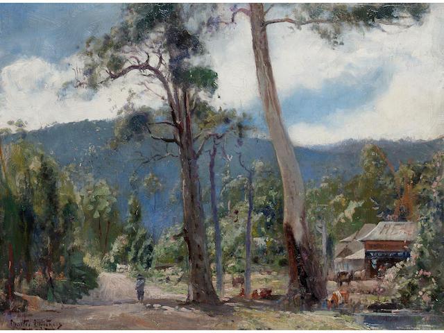 Walter Hebert Withers (Australian, 1854-1914) Morning sun through gums, Eltham, Victoria 45.7 x 61 cm. (18 x 24 in.)