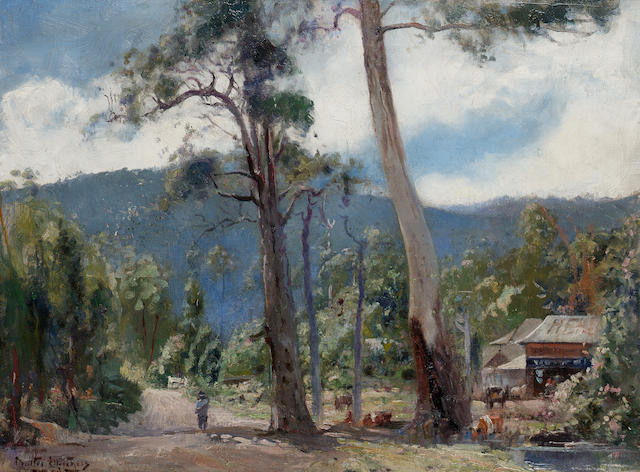 Walter Hebert Withers (Australian, 1854-1914) Morning sun through gums, Eltham, Victoria 45.7 x 61 cm. (18 x 24 in.)
